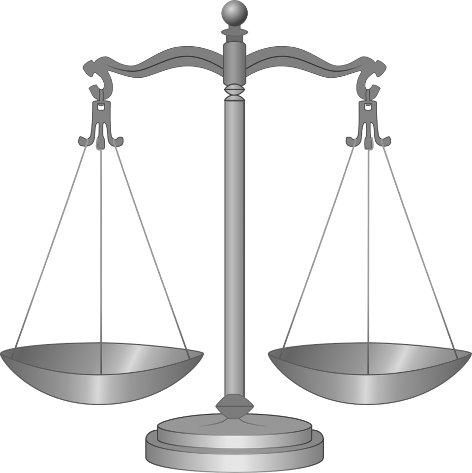 Black and white scale, balanced