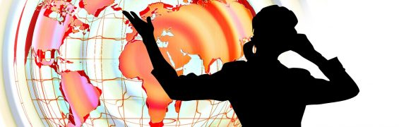 Woman silhouette with globe background